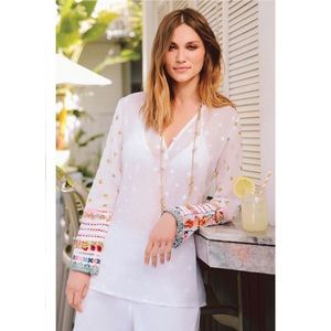 NWT Johnny Was White Embroidered Tunic Top